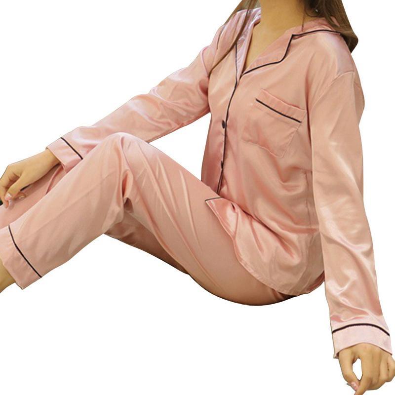 2 Parça Sonbahar Kadın Pijama Faux Ipek Saten Pijama Set Uzun Kollu Pijama Pijama Takım Elbise Kadın Homewear Kadın Pijama