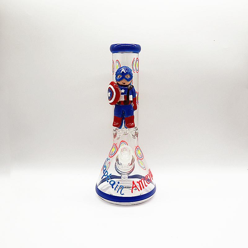 Свечение в темноте Капитан Америка Pattern высоком стакане BONG фильтр двойной слой стекла труб нефтяной вышке буровой установки перевелосипедист мазок труб