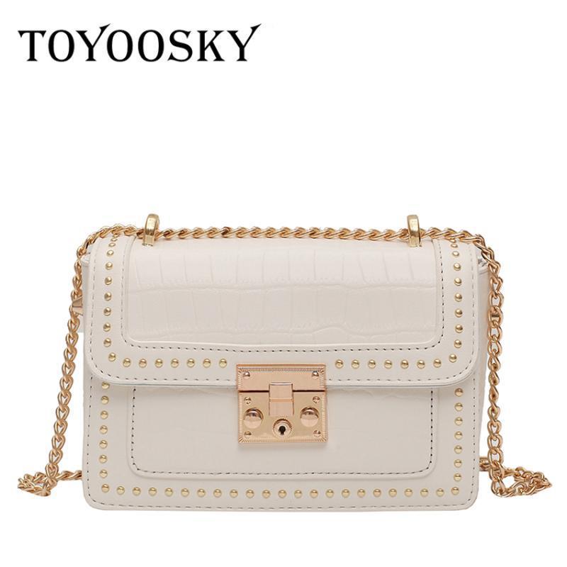 TOYOOSKY Remaches PU de los bolsos de cuero Crossbody para las mujeres 2020 marca de moda de lujo del diseñador del bolso del mensajero del hombro del bolso de totalizadores
