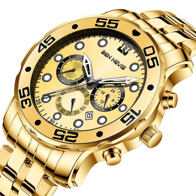Außenhandel Gold-Quarz-Uhr-Multi-Funktions-Drei-Augen-Sechs-Pin Mode Leuchtende Uhr-Männer