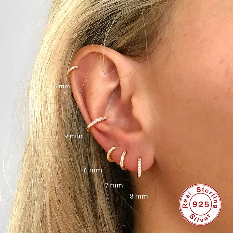 Pequeño lujo Estudianto 925 pendientes de plata esterlina redondo círculo para el oído boda partido de las mujeres de los hombres de la joyería del anillo del encanto