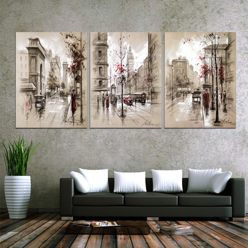 Tuval Tablolar Ev Dekorasyonu HD Baskılar Posterler 3 Adet Özet İl Sokak Manzara Resimleri İçin Salon Wall Art Çerçeve