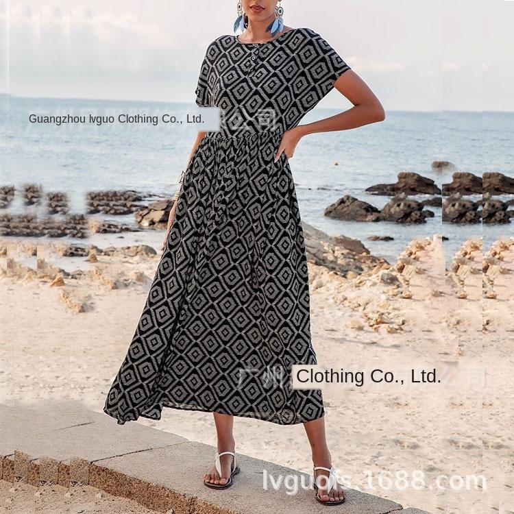 2020 nuovi casuale geometrica 2020 nuove donne geometriche casuali pannello esterno del vestito lungo delle donne del vestito pannello esterno lungo