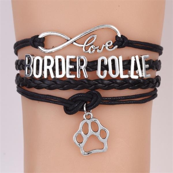 Couro amor Border Collie Dog Pulseira Paw encanto do filhote de cachorro Wax Trançado Pulseiras