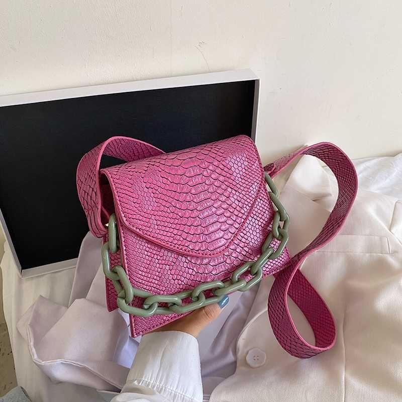 Retro Frauen-Leder Schultertasche Big Kette Tote Handtasche Female Solid Color Messenger Klassische elegante Schulter Handtaschen