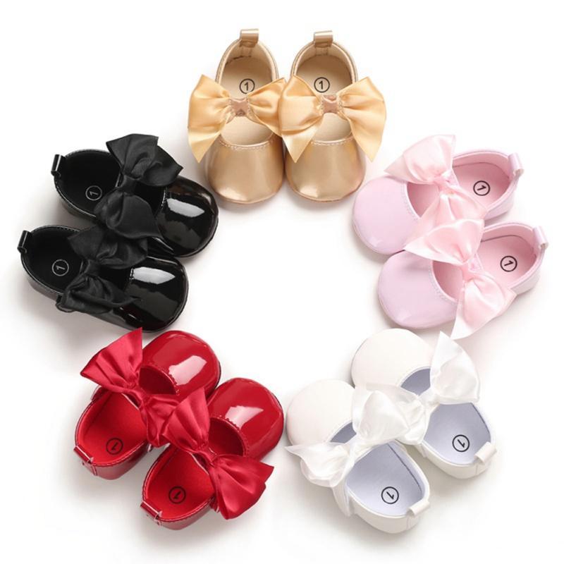 طفل بنات سرير أحذية حديثي الولادة لطيف الطفل أحذية عارضة فتاة 6-12 شهور بنات بنين BOWKNOT لينة وحيد عارضة