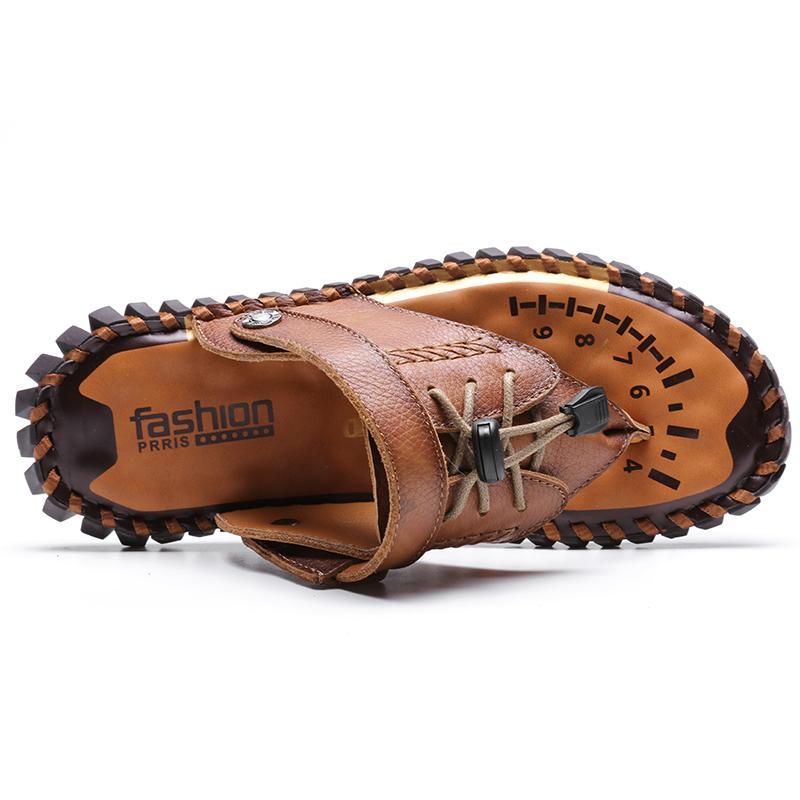Cuoio genuino degli uomini di Sandals Open Toe Slip On Fashion Casual Scarpe Uomo Pantofole romani della spiaggia di estate sandali Plus Size 38-48 01d CS01