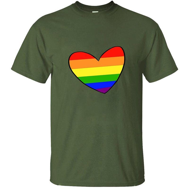 Persönlichkeit Sonnenlicht Homosexuell Pride-Herz-T-Shirt für Herren Hipster Kühlen Rundhalsausschnitt-HAU Comics Männer-T-Shirts T-Tops