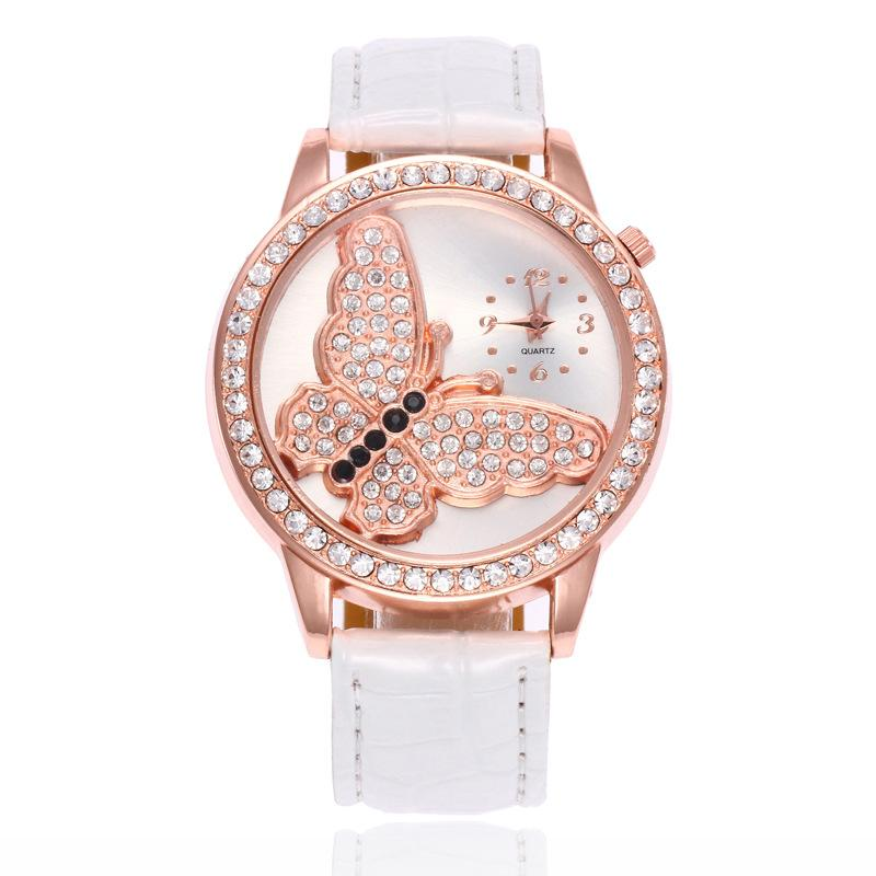 Schmetterlingsmuster Diamantkristall Frauendamen weibliche Leder Uhren Großhandel Mode-Studenten Quarzarmbanduhr Kleid