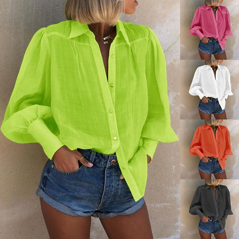 Kadın Giyim 2020 Kadın Tasarımcı Gömlek İlkbahar Sonbahar Uzun Kollu Katı Renk Moda İnce Günlük Bluzlar Tops