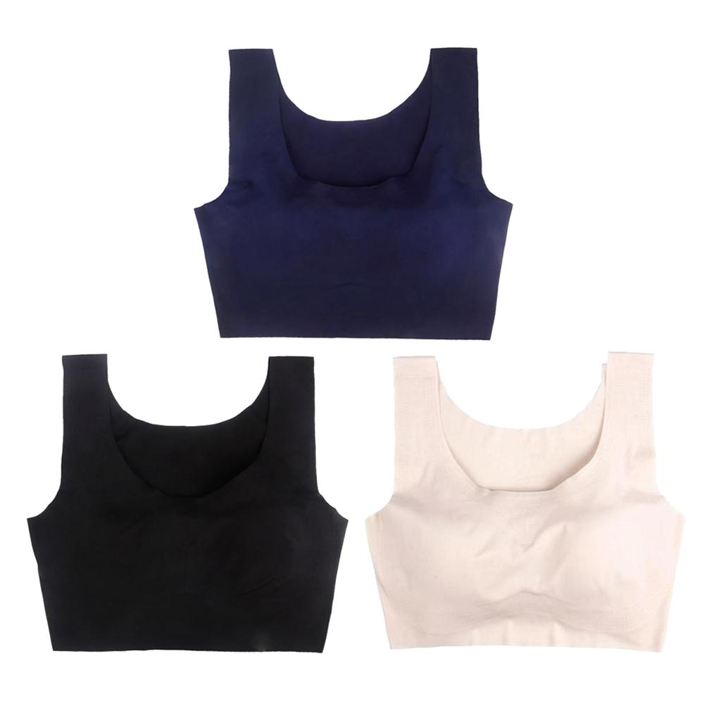 3 Pieces macia Pads Seamless Yoga Sports Academia Bra Preto + Skin + Azul
