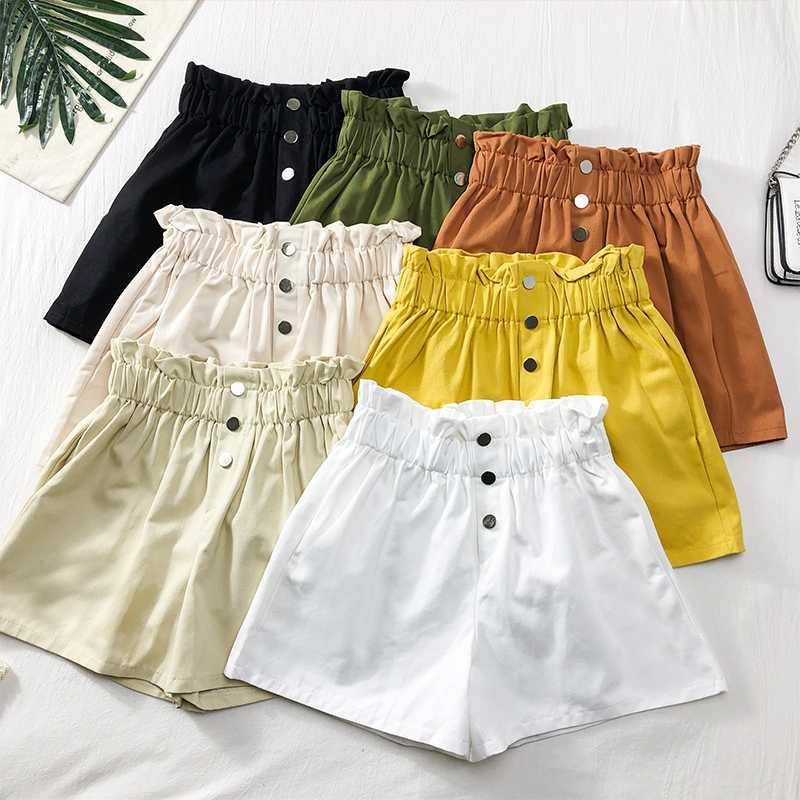 2020 Summer High Waist Ruffle Shorts For Women Casual Wide Leg A line Shorts Solid Korean Female Loose Short Pants 7 Colors