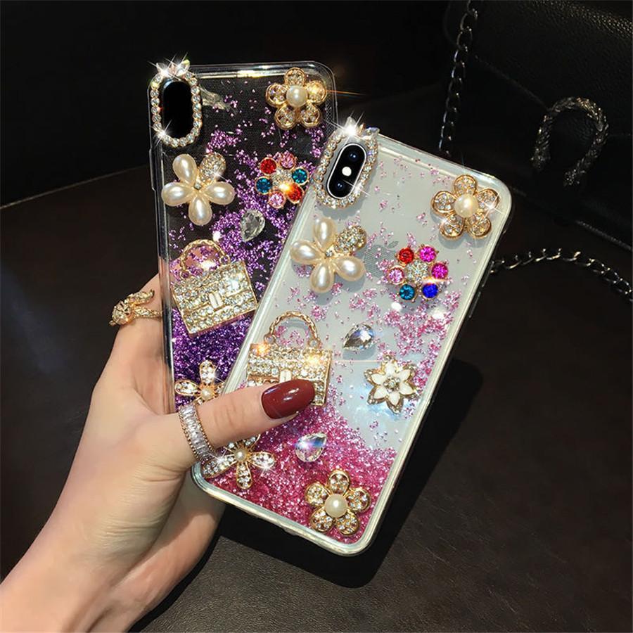 caso de telefone designer para iphone 11 caso do iphone 11 pro máximo de casos Big Bling pedras pérolas de cristal diamantes strass 3D casos do telefone do desenhista