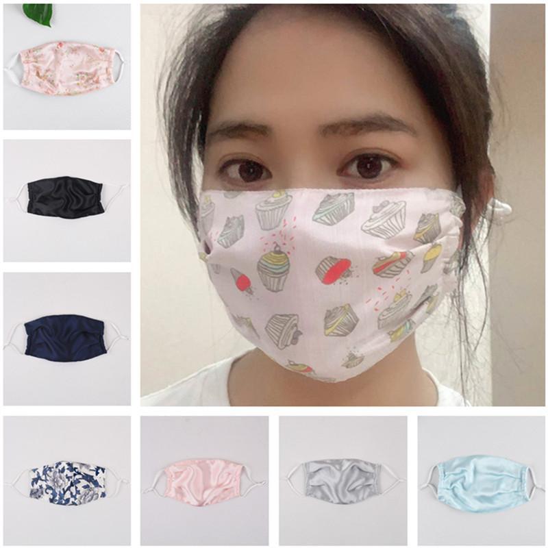 Fashion Anti Dust Face Mask Maschera Uomo Donne Floral Stampato Silk Bocca Cover Protettivo Dispolvere Demplorabile Morbido Lavabile Esterni Maschere per feste per esterni Best Sale Xmas