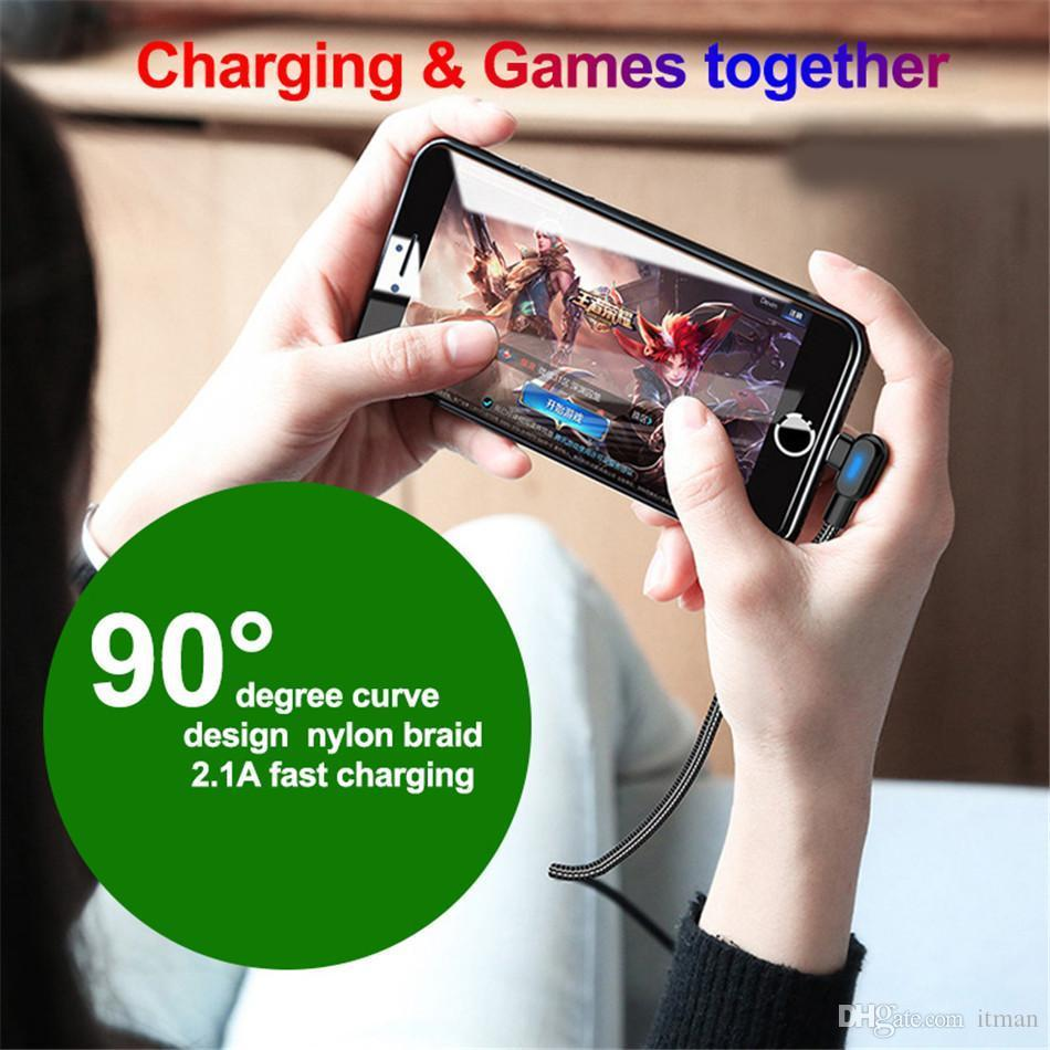 1M USB de type C de charge rapide 90 degrés Câble de chargeur pour Samsung S8 S9 S10 Xiaomi Huawei casecustom dkrIi