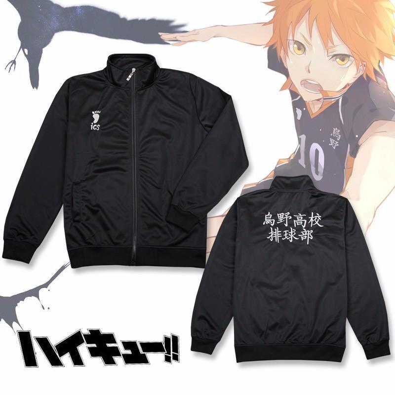 Anime Haikyuu Cosplay Jacket Shoyo Hinata Preto Sportswear Karasuno High School de Vôlei Jersey Calças Fatos militares Brasão
