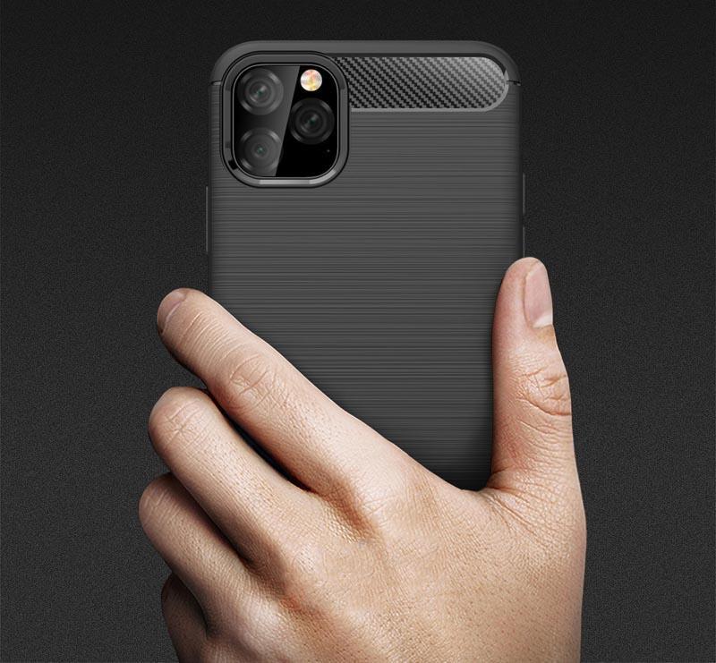 Delgada armadura de fibra de carbono textura cepillado suave de TPU para el iPhone 12 11 Pro Max X XR 8 7 6S Plus