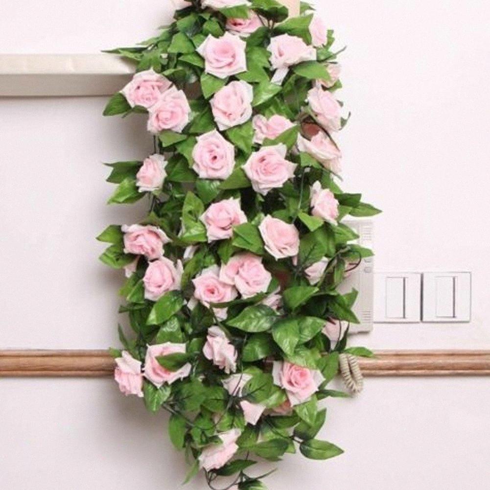 Paño de seda artificial flores falsas Rojo Rosa Simulación Champagne Rose vid de la hiedra Hangings guirnaldas para la decoración casera boda DFe4 #