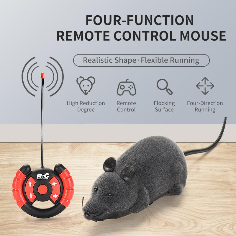 RC-Tiere Mäuse Grauspielzeug Remote Kinder Maus Ratte Wireless Electronic Toy for Cat Mouse Control Lustige Haustierspielzeug Geschenk 02 uhaxb