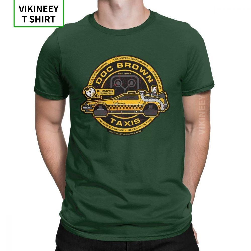 Homens Camiseta Doc Brown Táxis Back To The Future T-shirt de manga curta Elegante Camiseta Crew Neck Tops presente Cotton