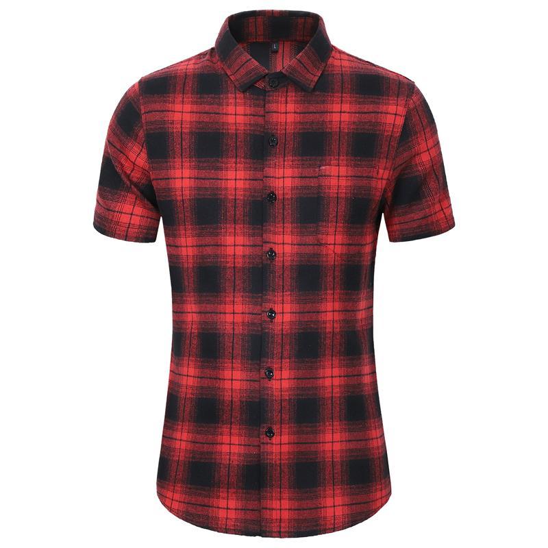 Casual Shirt personnalité simple à carreaux à manches courtes Chemises hommes Mode Sports de plein air Chemisier Homme Nouveau été Jaune Rouge Gris