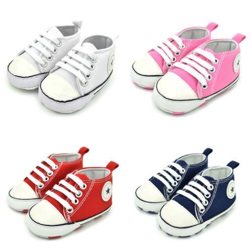 Säugling Neugeborenes Baby-Mädchen-weiche Sohle Canvas Pram Schuhe Sneaker Beiläufiges Außen Sterne Printed erste Wanderer Sneaker 0-18M