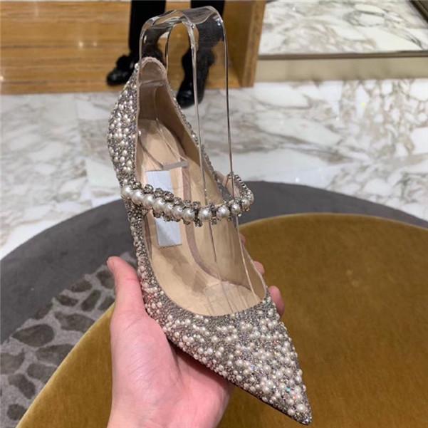 2020 sıcak Moda Klasik Sivri burun Seksi Pearl Rhinestone Yüksek topuklar Buzağı Deri İnci Kristal Düğün Ayakkabı boyutu 34-40 pompalar