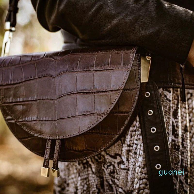 Borse a tracolla in pelle di borsa della borsa della sella e piccole borse a tracolla rotonda Borsa a tracolla della borsetta di lusso Donne dell'alligatore del crossbody di lusso NVWBR