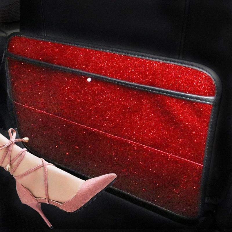 Moda Bling Anti Criança Pad pontapé Para assento de carro Diamante Rhinestone Crown Anti Criança pontapé Pad tJfz #