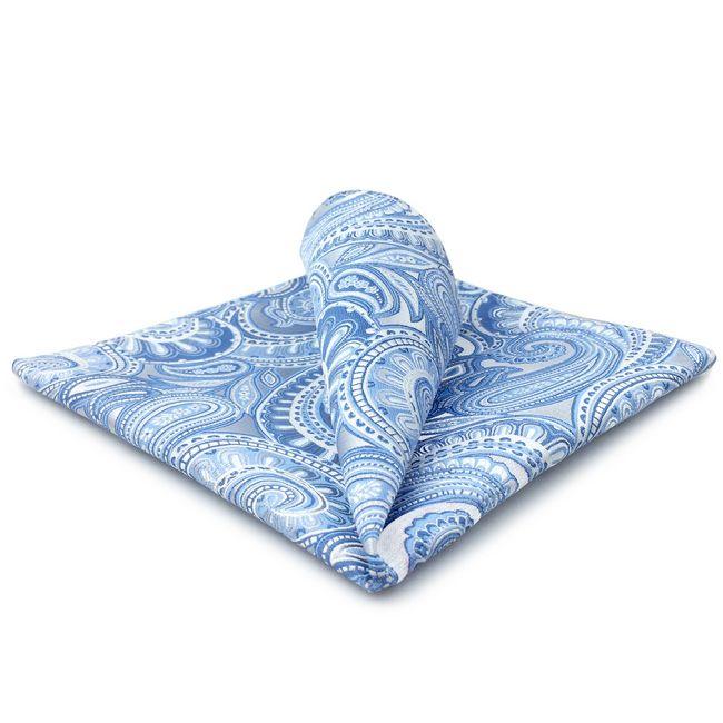 YH12 페이즐리 푸른 실버 남성 손수건을 100 % 실크 자카드 직물 패션 브랜드의 새로운 손수건