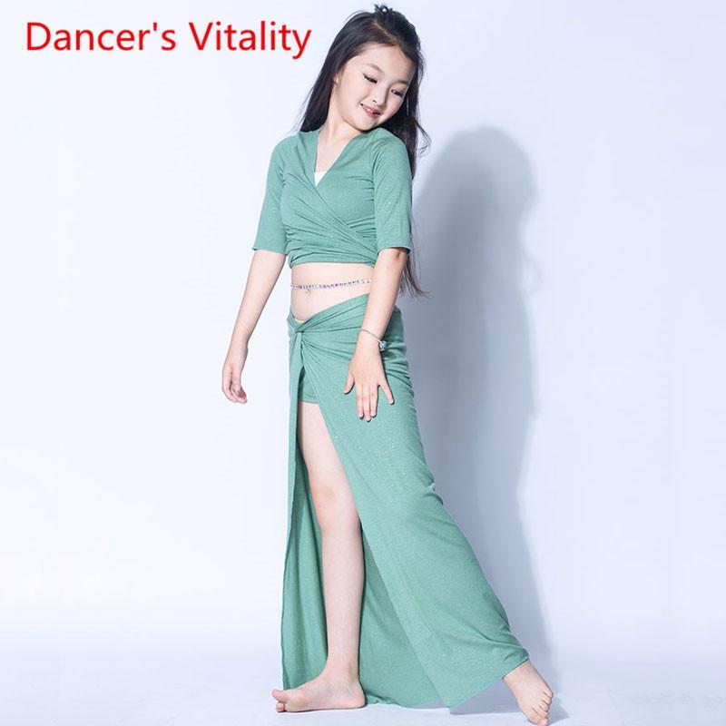 Danza del vientre de los niños de baile de entrenamiento vestido de las muchachas del juego del juego desempeño profesional separada del verano de los niños falda de la tapa