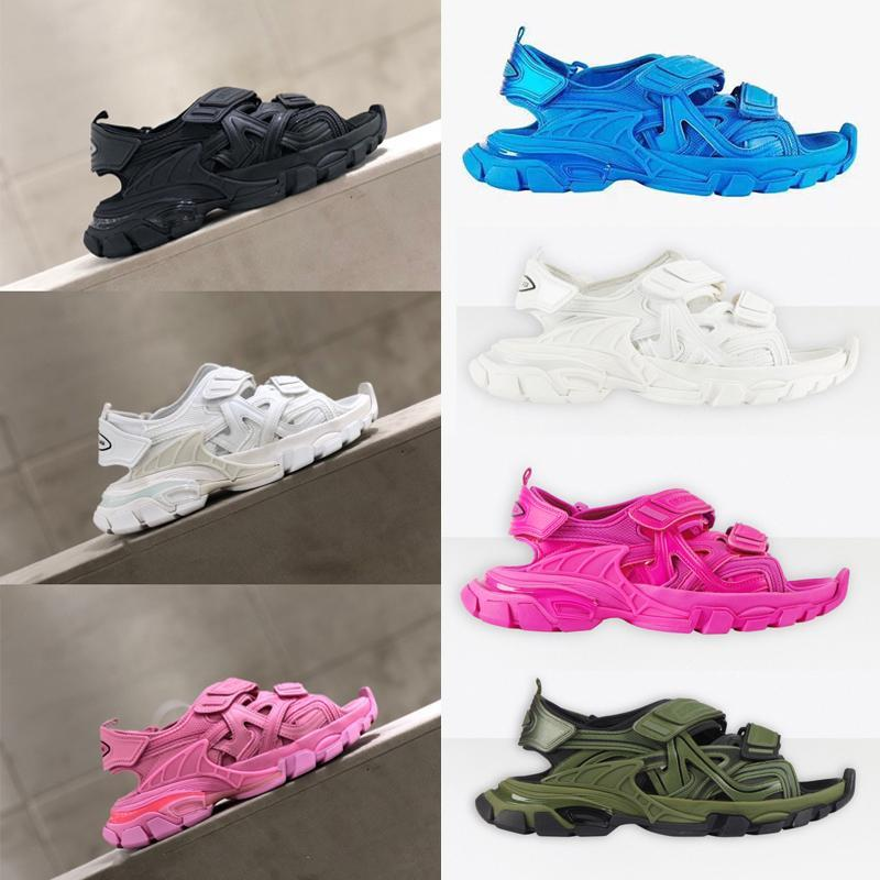 Sandals new foam outsole comfortable and non-slip wear-resistant highest version couple models female Triple S 20ss track sandals Thic fohe#