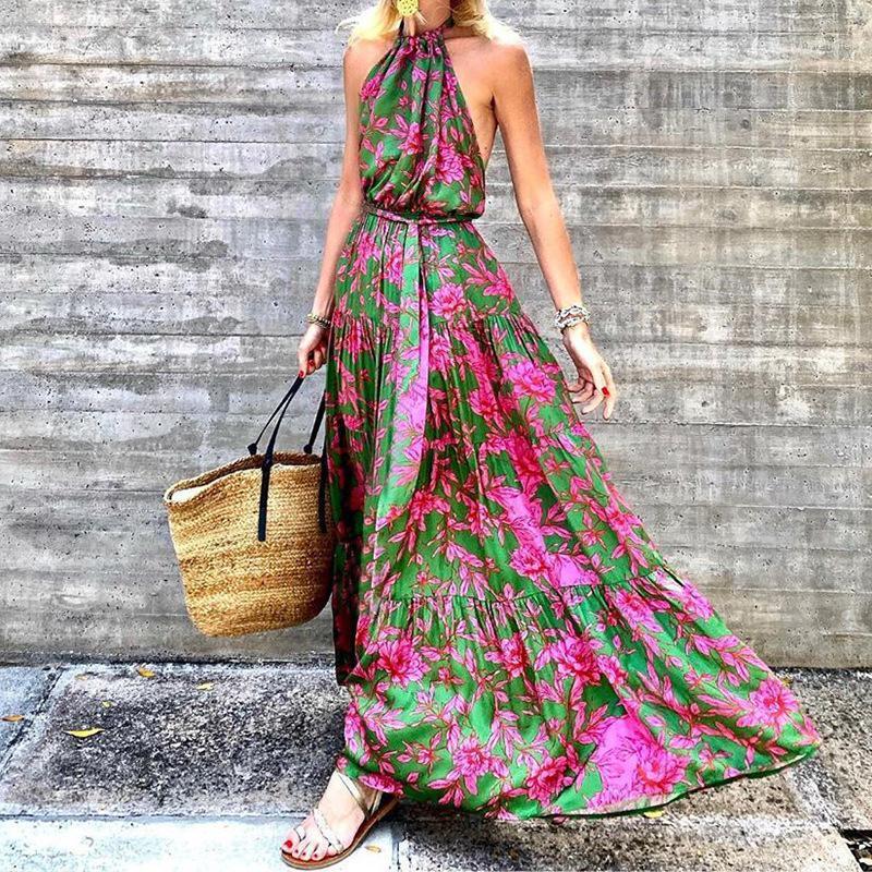 Floral Sexy Pavimento comprimento do vestido da forma confortável Mulheres Designer Roupa Halter traseira aberta Womens vestidos de verão
