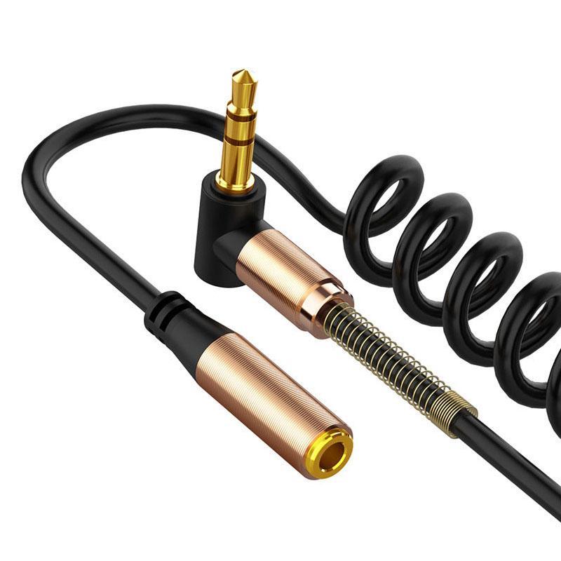 3.5mm Elbow Frühling Retractable Audio-Verlängerungskabel Jack-Stecker auf Buchse Kabel für Lautsprecher MP3-Kopfhörer-Telefon PC-Zusatzkabel