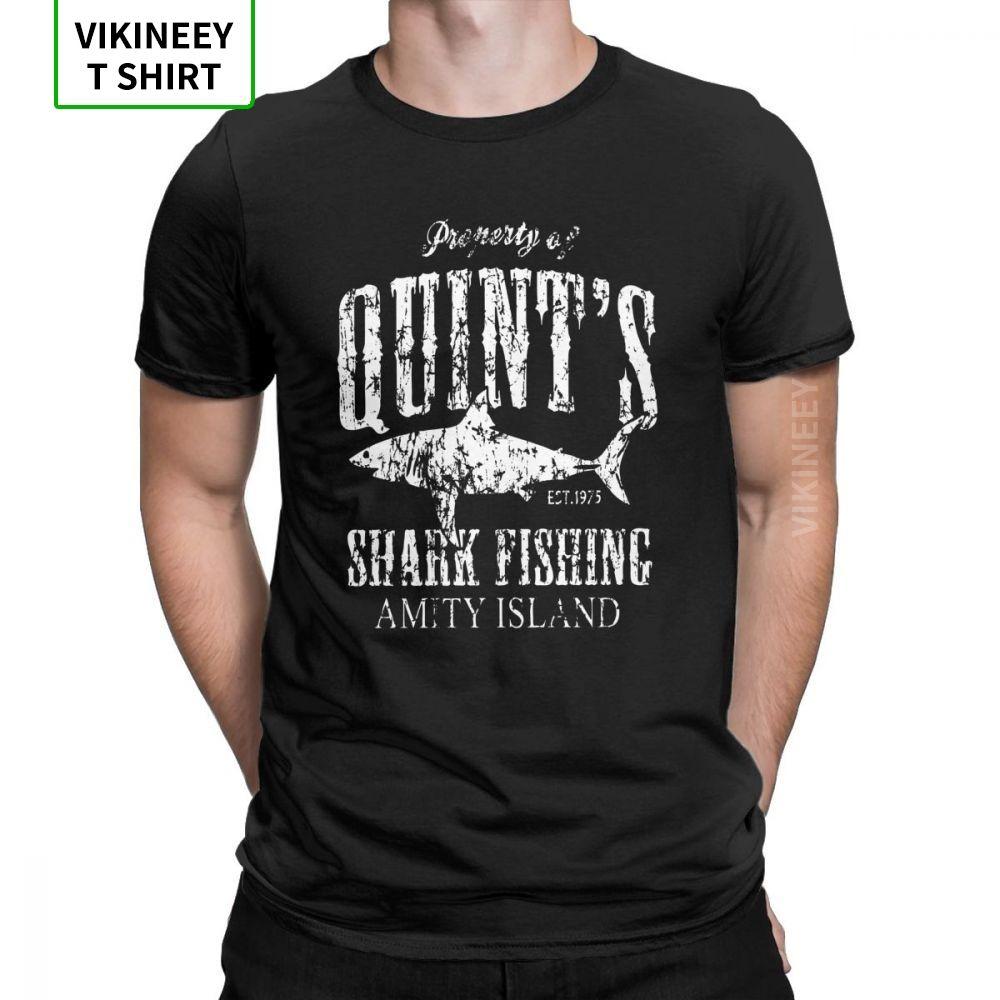 Maglietta degli uomini Quints Shark Swag Amity Isola o collo Abbigliamento Jaws '70 Swag Tees divertente manica corta 100% Cott @ On Gifts T-shirt