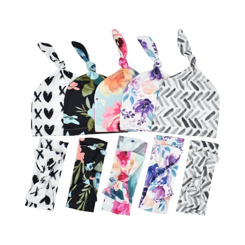 INS الوليد حقيبة النوم المطبوعة بطانية القوس رئيس الفرقة هات ثلاثة قطعة مجموعة اطفال الزهور البدلة زهرة نمط الكشمير نسيج 15xd B2