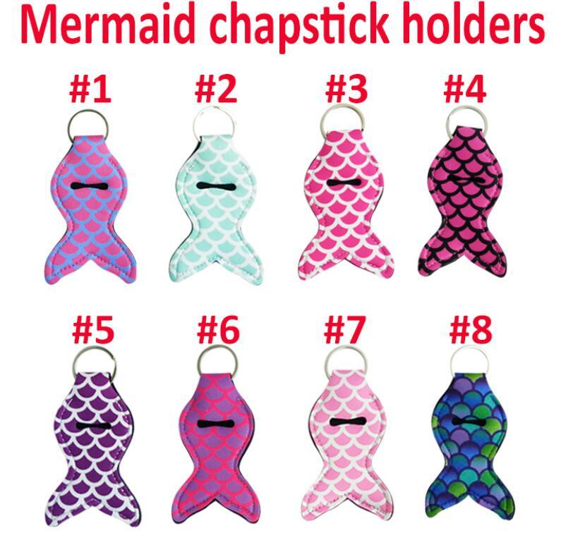 Mermaid Tail Chapstick Holder Keychain Lipstick Balm Holder Keychain Chapstick Key Chain Holder Different Vibrant Prints Cheap DHl Free