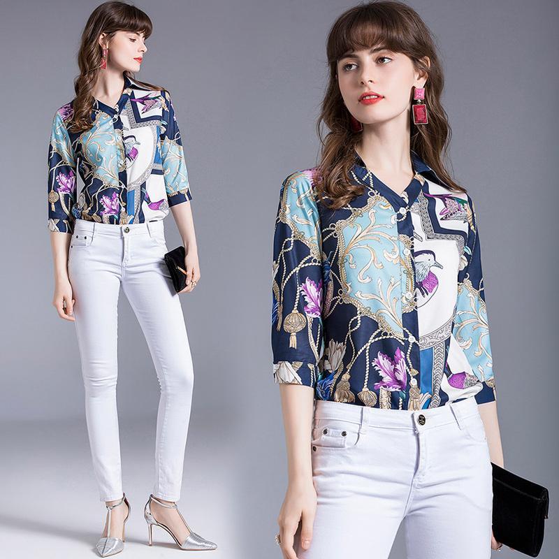 Barocco Floral Imprimir Mulheres V-Neck Tops Blusas 2020 Runway Verão elegante OL senhoras Escritório ocasional 3/4 Sleve Camisas Casual Vestuário Botão
