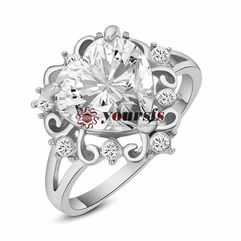 Yoursfs anéis romântico 18 k banhado a ouro branco Rhaintstone anel de dedo usar Áustria Cristal Ocean Coração casamento para mulheres presente
