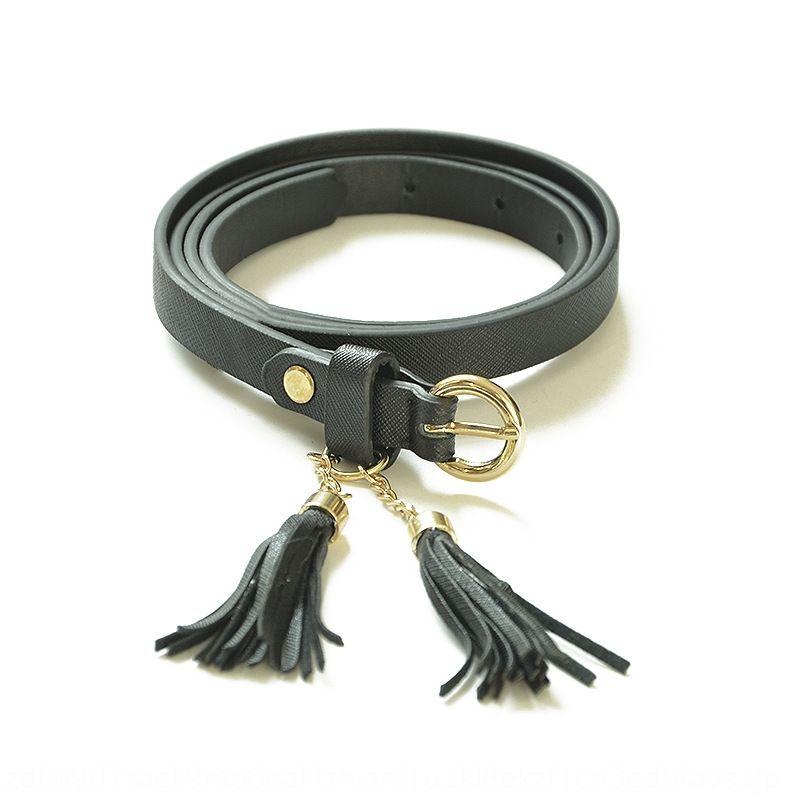 Nouveau mode mince ceinture de femmes élégantes de cuir pompon pinimitation casual mince ceinture personnalisée pompon tous match Pin Pin