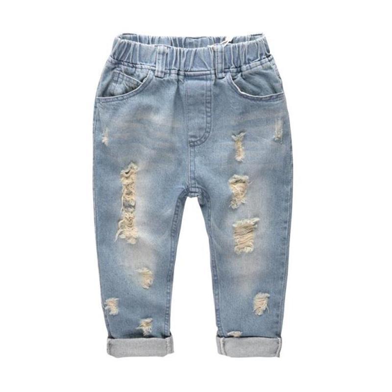 Junge Hosen Denim Jeans Kids Frühling Loch-elastische Taillen-Jeans-Hose für Junge Kleidung Kinder Hosen