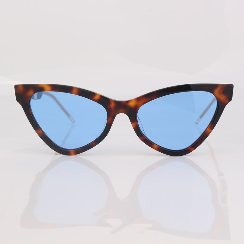 En kaliteli marka Moda Kedi gözü orijinal kutusu ile kadınlar leopar çerçeve mavi lens göz aşınma güneş gözlüğü