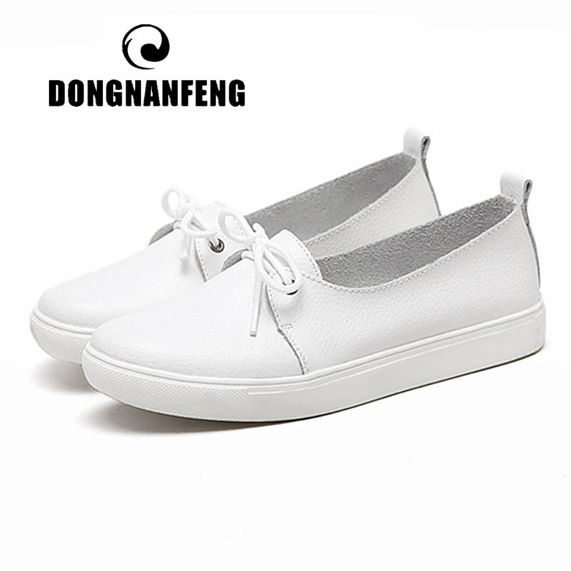 DONGNANFENG Women Students Gril Female Genuine Leather White Shoes Flats Platform Lace Up Korean Casual Vulcanized Shoes FEZ-173 CX200724