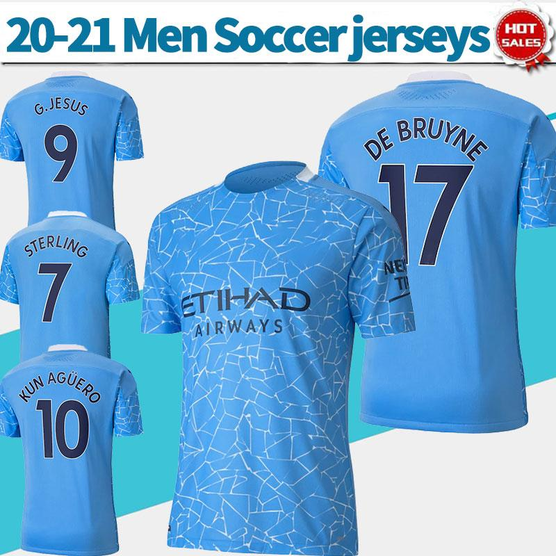 2021 Man City soccer Jerseys #17 DE BRUYNE 20/21 Men home Soccer Shirts #9 G.JESUS #10 KUNAGUERO customized Football Uniforms
