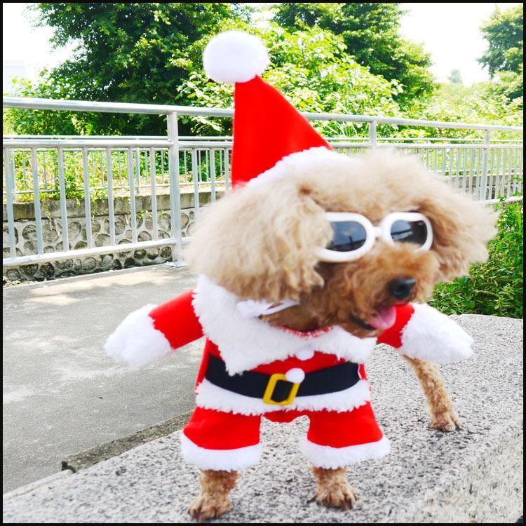 Brasão Vestuário roupas de algodão para o cão Cat Costume Gato do Natal roupa do gato Dog Pet traje de Papai Noel do inverno do Natal do animal de estimação