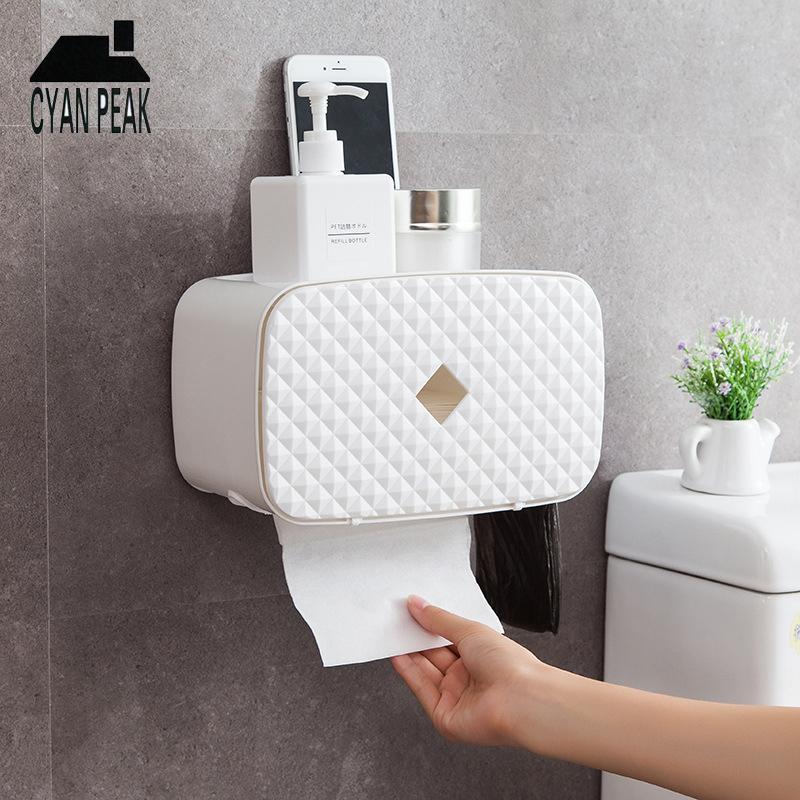 Tissue Dispenser Настенный кухонный держатель ткани Туалет Ящик для хранения Стеллаж Салфетка Домашнее украшение аксессуары туалетная бумага Y200328