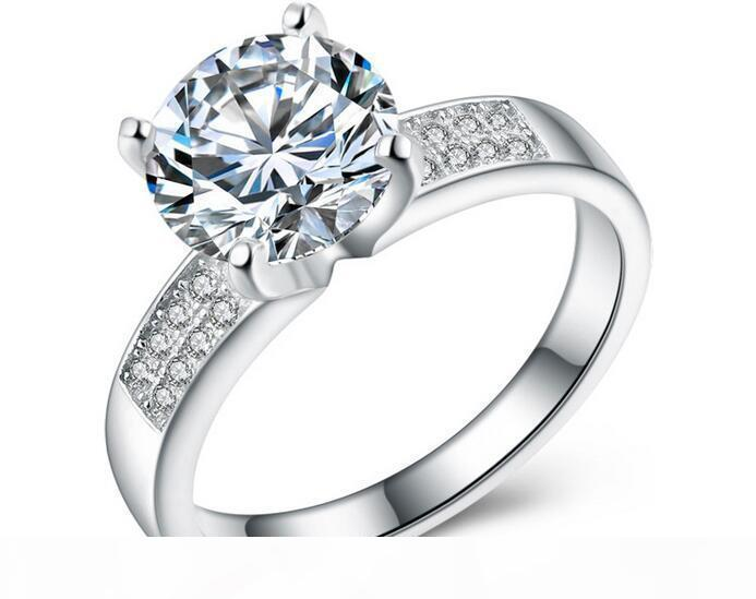 JewelOra خواتم الزفاف غرامة مجوهرات للنساء GF هدية 1.00CT حساس لهجة الماس 100٪ 925 الفضة سيدة حلقة # RI100968