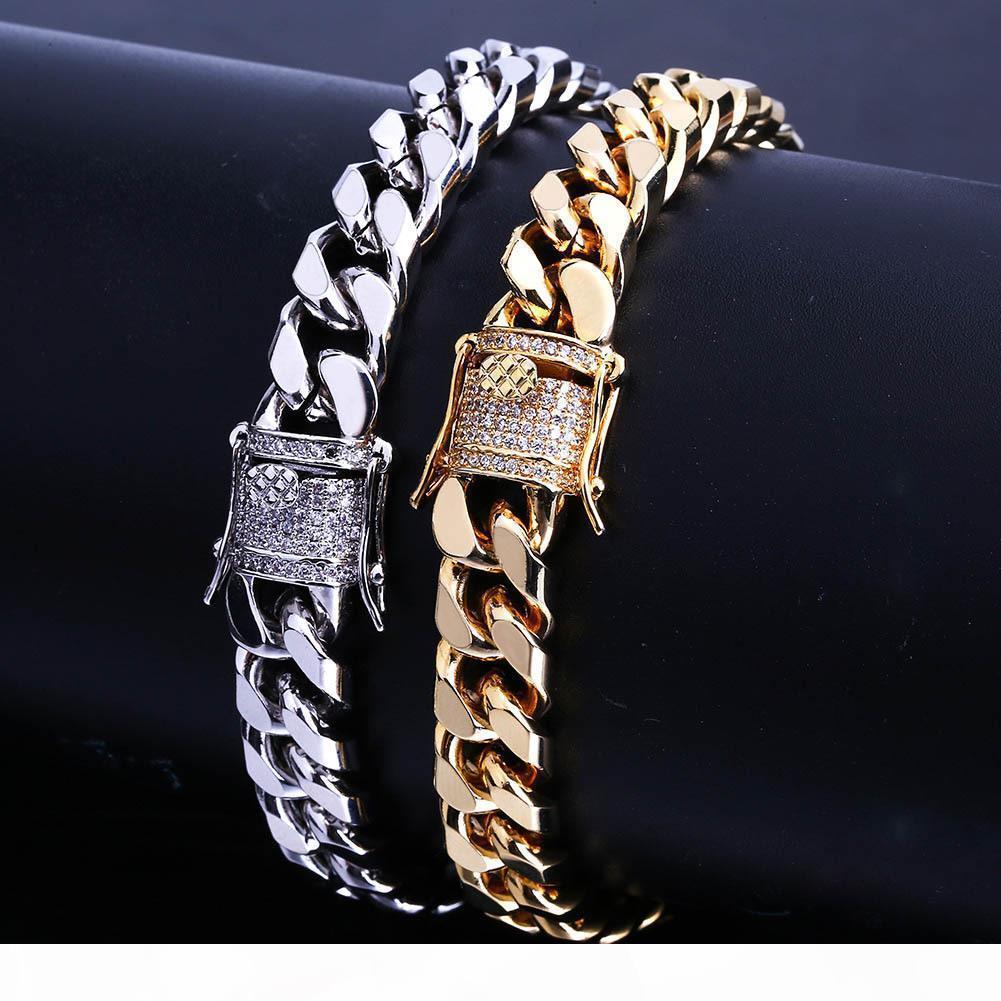 7 8inch 10 millimetri Miami cubana link ghiacciato fuori Oro Argento Bracciali HipHop Bling Chains Jewelry Mens Bracciali