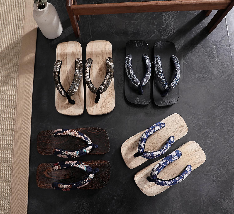 Square Toe Wooden Paulownia Casual Shoes Geta Clogs Slippers Japanese Paulownia Wooden Shoes Men Women Sandals Melia azedarach
