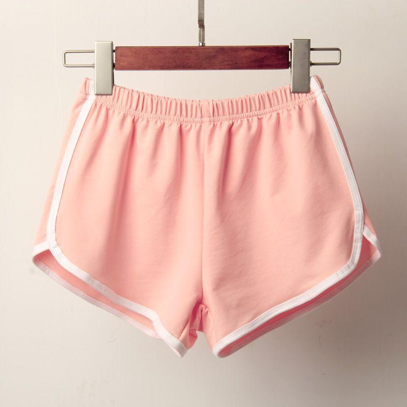 AprilGrass Brand Designer Спортивные шорты Женщины New Candy Цвет анти опустели Тощий Короткие Повседневный Lady Упругие талии Пляж Correndo Короткие штаны